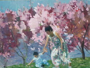Catching the Cherry Blossoms in the Park  14x18