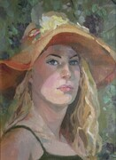 Iana in Straw Hat  12x18