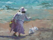 Walking her Dog in Malibu  9x12