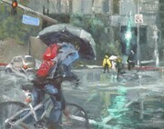 Westwood Blvd. in the rain  9x12  Oil Sold